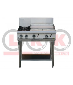 2 Gas Open Burner Cooktop + 600mm Right Grill