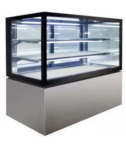 Square Glass 3 Tier Hot Display 1200mm