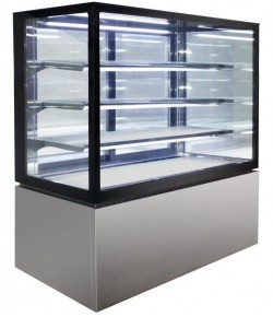 Square Glass 4 Tier Hot Display 1200mm