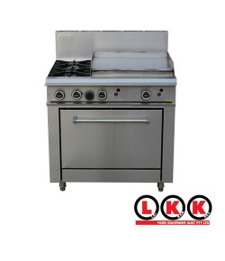 2 Gas Open Burner Cooktop + 600mm Right Grill Oven Range