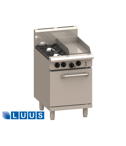 LUUS 600mm Wide Ovens, 2 burners, 300 char & oven