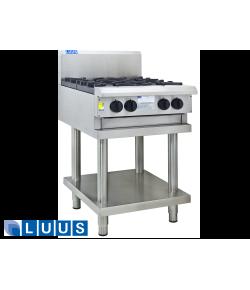 LUUS 600mm Wide Cooktops, 4 burners & shelf