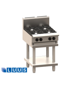 LUUS 600mm Wide Cooktops, 2 burners, 300 grill & shelf
