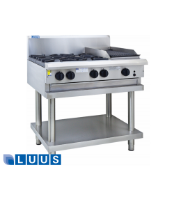LUUS 900mm Wide Cooktops, 6 burners & shelf