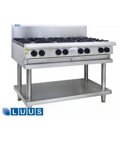 LUUS 1200mm Wide Cooktops, 8 burners & shelf