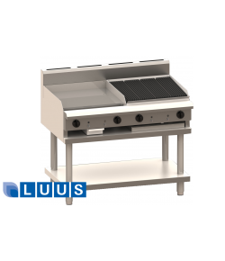LUUS 1200mm Wide Grill and Chargrill, 600 grill & 600 char